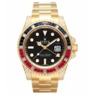 Replica Rolex GMT Master II Yellow Gold Black Dial watch 116758 SARU