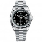Replica Rolex Day-Date II President White Gold Fluted Bezel Black Dial