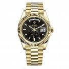 Replica Rolex Day-Date 40 Automatic Black Diagonal motif Dial 18kt Yellow Gold