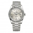 Replica Rolex Day-Date 40 Silver Quadrant Dial 18K White Gold Automatic Mens Watch