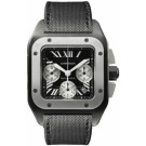 Fake Cartier Santos 100 Carbon Titanium and Steel Extra Large Watch W2020005