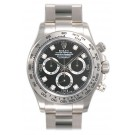 Replica Rolex Daytona Black Diamond Oyster Bracelet 18k White Gold Watch  116509BKDO